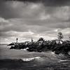 Harbour (Joe Iannandrea) Tags: blackandwhite lighthouse seascape weather landscape pier waves wind harbour stormy ilfordhp5 lakeontario isf breakwall filmphotography bronicas2a pmkpyro jordanstation lincolnontario 150mmf35zenzanon