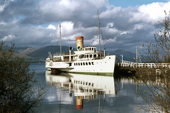 Maid of the Loch (reflections) at Balloch Pier Oct'76. (David Christie 14) Tags: balloch lochlomond maidoftheloch