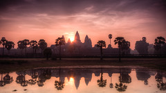 Angkor Wat at dawn (Erik Kok) Tags: lake sunrise dawn cambodia buddha angkorwat siemreap hindu