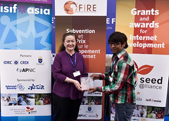 ISIF ASIA and FRIDA AWARDS 2012 .In the category of Rights, the winners is Climate Radio - Climate Voice (Bangladesh), represented by Mr. Jahangir Alam. Trophy presented by Walda Roseman (ISOC)...Even
