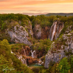 Sunset at Plitvice (Stawroncs) Tags: world park sunset summer cliff green heritage nature beauty rock sunrise landscape waterfall site high saturated nikon colorful europe dynamic famous lakes vivid croatia unesco foliage national sight blush awe range cascade hdr adria plitvice d5100