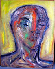 painting 90s oil on acrylics on hardboard young hero130x102cm