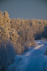 Beautiful winter day in Sweden (Darksidedesign) Tags: road blue winter sunset sky orange cold sol nature beautiful sunrise vinter woods sweden natur railway glowing northland platser jrn norrland rstid
