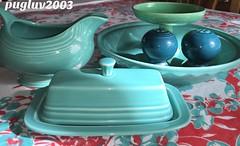 Fiestaware (pugluv2003) Tags: green vintage pie pepper boat turquoise salt mint plate gravy butter fiestaware compote