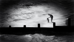 touching the sea (Ric George) Tags: touch beach southwold groynes father child shore daughter tide suffolk sea