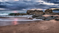 Dance of Pink (BlueberryAsh) Tags: australianseascape seascape ocean sand beach storm weather sunset stormscloudssunsetsunrise nikond750 nikon24120 rain phillipisland outdoor rocks