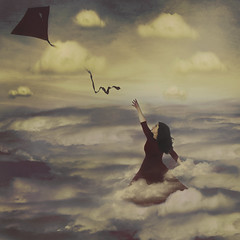 Letting Go (yelahrenae) Tags: surreal fine art girl woman brunette curly hair red blue kite flying sky clouds cloud fear reach let go texture color painterly conceptual nature floating