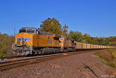 """Westbound Empty Coal Train in Kansas City, KS (""""Righteous"""" Grant G.) Tags: up union pacific railroad railway locomotive train trains west westbound empty coal kansas city ge power new"""
