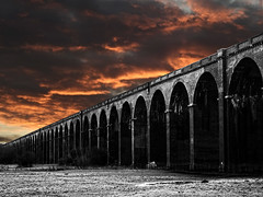 Sky fire (scarbrog) Tags: nikond80 fujixe1 helioslens selectivecolour on1freesoftware photoshop mono sky sunset clouds