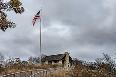 Grand Dad's Bluff (1 of 2) (brian_barney9021) Tags: granddads bluff lacrosse la crosse wi wisconsin landscape photography clouds cloudy nikon d7200 kit lens sky trees grass hills bluffs path building architecture shelter american flag