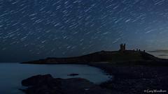 Midnight Meteor Storm - Star Strail, Dunstanburgh Castle, Northumberland (Gary Woodburn) Tags: lilburn tower dunstanburgh castle northumberland star trail night sky stars dark skies starry ruins canon 6d samyang 24mm
