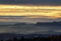 Misty View (bjorbrei) Tags: mist misty evening dusk hills forest ullern brum sky clouds yellow oslo norway