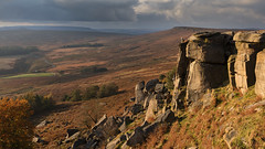 Stanage Climbers (Paul Newcombe) Tags: stanageedge climbing climbers landscape england uk derbyshire rocks storm october sidelight peakdistrict peaks nationalpark britnatparks