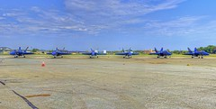 Blue Angels panorama (cmfgu) Tags: martinstateairport essex md maryland baltimorecounty openhouse fleetweek airshow blueangels mcdonnelldouglas fa18hornet unitedstatesnavy usn airplane aircraft jet aerobatic flight demonstration team tarmac panorama hdr highdynamicrange
