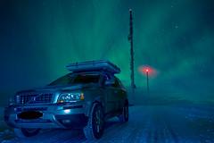 camouflaged advertising... (SeALighT!) Tags: sverige sweden schweden arjeplog galtis northernlights aurora auroraborealis car antennas transmittingmasts volvo xc90