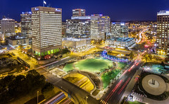 Flying with Sparks (Sky Noir) Tags: richmond virginia unitedstates us drone aerial photography va dji phantom 4 night blue hour cityscape