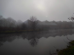 misty morning reflections (watergypsyrach) Tags: mist rotherhamindustry industriallandscape industralreflections canal ama rotherham southyorkshire southyorkshirenavigation nikoncoolpixs7000 pointandshootcamera