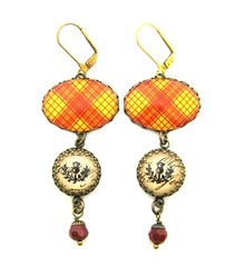 Ancient Romance Series - Scottish Tartans Collection - MacMillan Clan Tartan Earrings with Thistle Charms on Victorian Script Background and Coral Red Swarovski Crystals