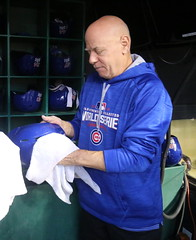 Getting the Cubs helmets ready for World Series Game 6. (apardavila) Tags: postseason wordseries baseball chicagocubs majorleaguebaseball mlb progressivefield sports worldseries