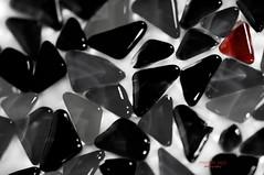 uniQue (mariola aga) Tags: glass tile pieces blackandwhite bw selectivecolor black white gray red closeup unique art ruby ruby3 thegalaxy