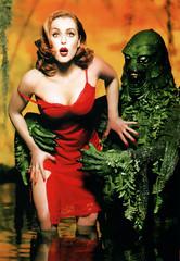 Gillian Anderson and the Gill-Man! (FranMoff) Tags: creaturefromtheblacklagoon gillman creech rhodeislandcomiccon pinup reddress 2016 gilliananderson ricc gillmen