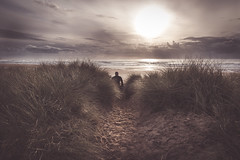 Haze (garethleethomas) Tags: sun surf surfing beach autumn afternoon canon light sunset clouds surfer landsacpe haze pembrokeshire coast sand wales