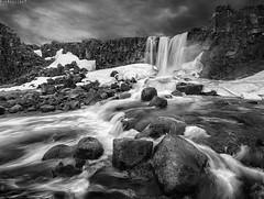 xarrfoss (Ron Jansen - EyeSeeLight Photography) Tags: xarrfoss xarr waterfall falls ingvellir national park iceland valley rift thingvallir tectonic plate plates ridge crack path opening wideangle blackandwhite monochrome d810 nikonafsnikkor1424mmf28ged