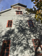We're gonna need a longer ladder  (Explored 11-28-2016 - Thanks) (cliffordswoape) Tags: usa amberwavesofgrain rustic historic 1812 autumn blueskies maroon grey gray tennessee cannoncounty paint tall mill readyville