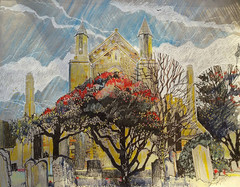 Church in Rye, East Sussex (patsouthern-pearce/Skyeshell) Tags: rye sussex church churchyard graves gravestone skyeshell mixedmedia pleinair sketchbook strathmore grey shadows trees autumn