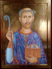 Saint Wilfrid (gowersaint) Tags: britain uk england northumberland hexham religion faith image christianity man saint icon ikon wilfred saxon bishop monk politician roman modern tradition portrait symbols symbolism face textiles clothes box shrine relics gold golden wilfrid