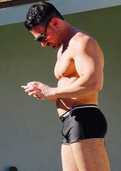IMG_0304 (danimaniacs) Tags: shirtless hot guy man hunk stud mansolo muscle muscular swimsuit trunks bulge cellphone
