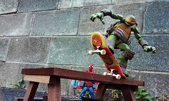 Turtle Grind (RandomWatts) Tags: toy photography skateboarding action turtle ninja spiderman turtles figure michelangelo tmnt revoltech