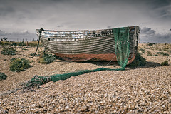 Adrift (ShrubMonkey (Julian Heritage)) Tags: history abandoned beach coast boat wooden kent fishing desert decay sony shingle gear adrift coastal shore naturereserve dungeness nautical hull discarded wreck deserted hdr a7 isolated trawler clinker dungenessestate rx131