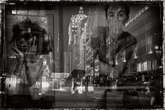 NYC double exposure (Pat Kelleher) Tags: nyc blackandwhite bw newyork black texture fuji doubleexposure grain enblancoynegro patkelleherphotography fujix100t