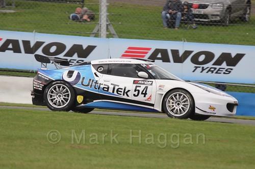 The UltraTek Racing Lotus Evora GT4 of Jamie Wall and Tim Eakin in British GT Racing at Donington, September 2015