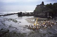 Purification ceremony, Tanah Lot, Bali, Indonesia