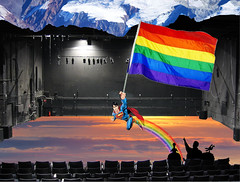 Catch Photo #30D (gaymay) Tags: california gay sky mountain snow love happy robot flying rainbow desert stage flag palmsprings superman rainbowflag auditorium triad supergay mysterysciencetheater3000 catchphoto