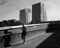 Amperesteg (maekke) Tags: street bridge shadow bw women shadows noiretblanc streetphotography fujifilm zrich brcke ch kreis5 2015 amperesteg x100t