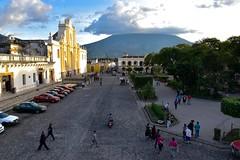 _DSC0704 (lnewman333) Tags: sky horse church latinamerica clouds volcano highlands cathedral guatemala religion historic antigua plazamayor centralamerica parquecentral 1541 saintjosephcathedral spanishcolonialcity