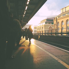 #london #station #railstation #platform #evening #winter #sunset #yellowline #waiting #people #public #travel #transport (Daniel Hume) Tags: travel winter sunset people london public station evening waiting transport platform railstation yellowline