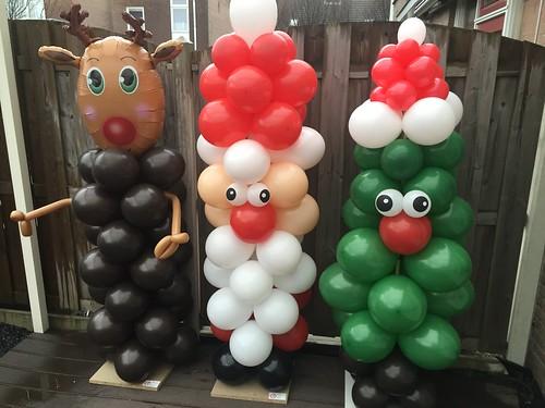 Ballonpilaar Kerstman, Rudolf, Kerstboom