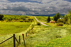 Mountain View (Ruth Voorhis) Tags: mountains peaks valley grass fence trees sky clouds road farmland outdoors barn horse