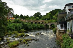 View from the Chainbridge Hotel (Eddie Crutchley) Tags: europe uk wales river outdoor riverdee bridge cloudysky chainbridge hotel railwaystation greatphotographers