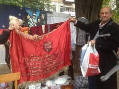 Знамя ударников (GrusiaKot) Tags: ucraina ukraine україна украина travelling autumn odessa market fleamarket red banner soviet past sale