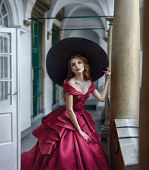 Lady in red (IrinaDzhul) Tags: people portrait girl woman young face eyes hat hair dress red white interior hands beautiful light dzhulirina irinadzhul