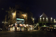 Honfleur by night, Hotel du Dauphin & Les Maisons de Lea at the crossroads, Normandy, France (grumpybaldprof) Tags: honfleur normandy normandie france vieuxbassin oldharbour quaistecatherine quaiquarantaine quai quaistetienne stecatherine lalieutenance quarantaine water boats sails ships harbour historic old ancient monument picturesque restaurants bars town port colour lights reflection architecture buildings mooring sailing stone collombage halftimbered yachts carousel merrygoround reflections waterreflections wetreflectionsfunfair night nighttime dark afterdark streetlights illuminatedsigns hoteldudauphin ruedauphin ruebrle ruedupuits maisonsdelea shadow cobbles cobbled tamron 16300 16300mm tamron16300mmf3563diiivcpzdb016 vines ivy oak