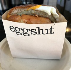 The sausage, egg and cheese sandwich at eggslut in the Grand Central Market in Los Angeles. (apardavila) Tags: eggandcheese eggs eggslut food grandcentralmarket iphone7plus losangeles sausage