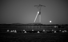 Moonrise-over-the-airfield (keithob1 Over 1 Million views - Thank you) Tags: moon moonrise airfield wind windsock blackwhite bw monochrome