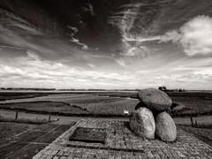 Dike monument (paul verbunt1729) Tags: blackandwhite zwartwit wolken landschap dijk dike
