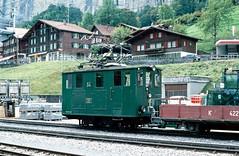 WAB Type He2/2 no.54 at Lauterbrunnen. Switzerland. 09/10/2000. (Marra Man) Tags: typehe22 wengenalpbahn 54 alioth 800mmgauge lauterbrunnen wab